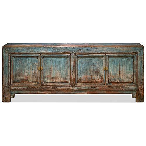 ChinaFurnitureOnline Distressed Light Blue Elmwood Mandarin Oriental Sideboard