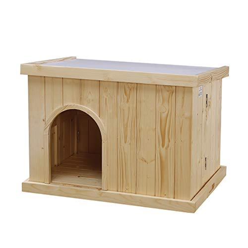 JSY Wood Dog House Kennel with Opening Roof & Bottom Removable for...
