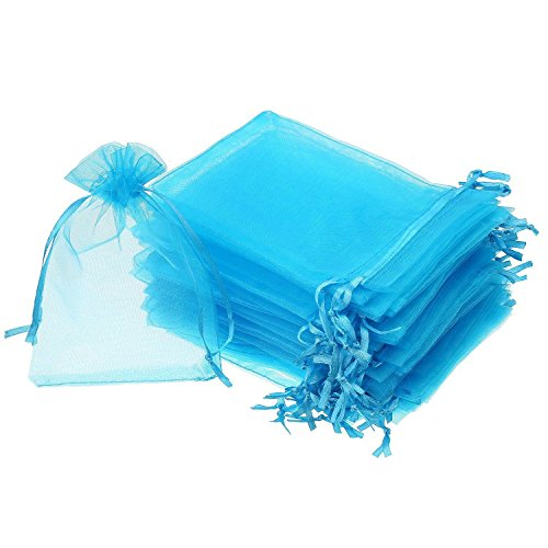 Ctzrzyt 50 Pieces 4 by 6 Inch Organza Gift Bags Drawstring Jewelry Pouches Wedding Party Favor Bags (Aqua Blue)