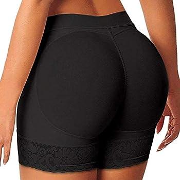 FUT Womens Seamless Butt Lifter Padded Lace Panties Hip Enhancer Underwear Shapewear Boyshort Black-padded Lace Panties Medium