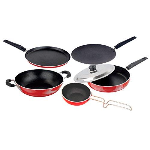 Nirlon Kitchen Utensils Premium Quality Non-Stick Cookware Set 5 Pieces Roti Tawa 27.5 cm, Dosa Tava 27.5 cm, Frying Pan with Stainless Steel Lid 24 cm,Kadhai 1.9 Litre, Vagariya Medium (pots)