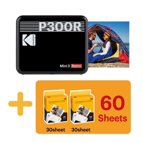 Kodak Mini 3 Stampante portatile per Smartphone + 6 Cartucce, Foto istantanee formato quadrato 76x76 mm, Bluetooth e Wireless - Nera