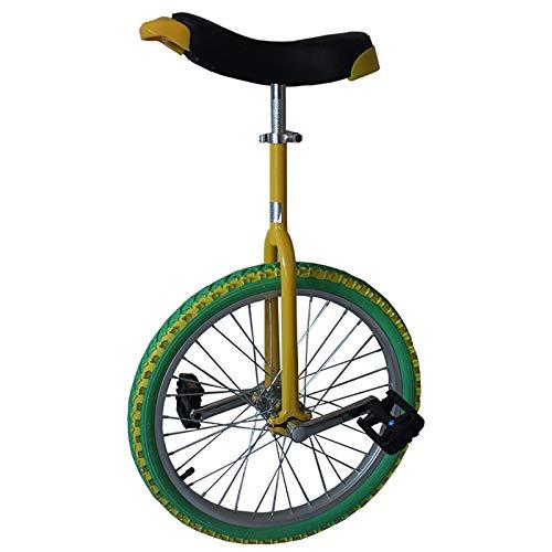 Einrad 18 / 16inch Rad Farbiges Einrad, für Kinder/Jugendliche/Kinder (Alter 7-15 Jahre), mit Auslaufsicherem Butylreifen, Outdoor Fashion Balance Cycling (Color : Yellow+Green, Size : 16inch)