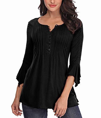 MISS MOLY Damen Oberteile 3/4 Ärmel Horn Hülse Sexy Bluse T-Shirt Knopfleiste Tunika Shirt Tops
