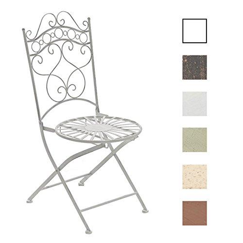 CLP Eisenstuhl Indra im Jugendstil I Antiker handgefertigter Gartenstuhl I erhältlich, Farbe:antik weiß