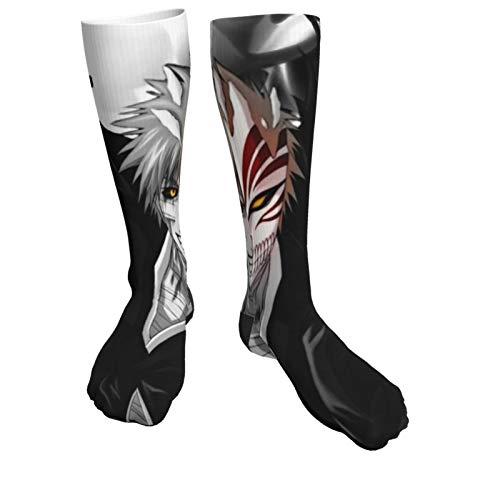 Anime BLEACH Kurosaki Ichigo Painting Mens Crew Socks Compression Socks Fancy Cushion Athletic Socks Black with thickening socks 19.6inch