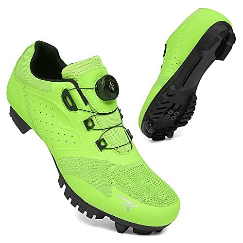 KUXUAN Zapatillas De Ciclismo MTB Hombre Mujer Calzado De Ciclismo Road Zapatilla Carretera Zapatos De Bicicleta De Montaña Unisex,Green-36EU