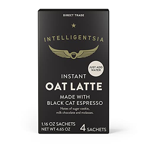 Intelligentsia, Instant Oat Latte - Instant Coffee Mix - 4 Single Serve Sachets (1 Box of 4 Packets), Made with Black Cat Espresso, Dairy Free, Direct Trade