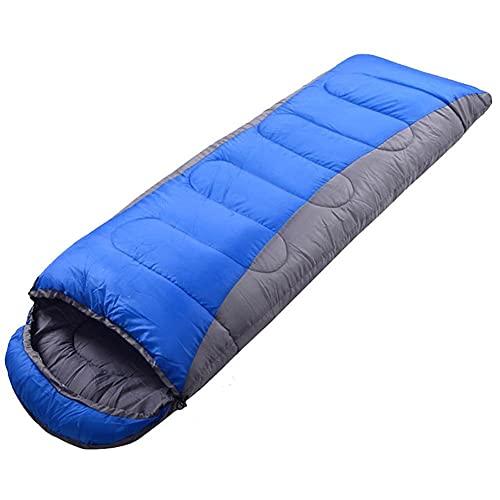 Saco de Dormir, Caliente y frío Tiempo de Peso Ligero Impermeable Uso Interior y Exterior para los niños Adolescentes y Adultos para IR de excursión con Mochila y Camping Azul