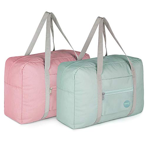 WANDF Foldable Travel Duffel Bag Carry on Luggage Sports Gym Water Resistant Nylon (Pack of 2)