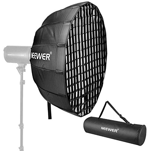 Neewer 34 Inches Hexadecagon Collapsible Silver Beauty Dish with Bowens Mount, Removable Internal and External Diffuser and Grid, Quick Folding Softbox for Photography Studio Flash Head and Monolight