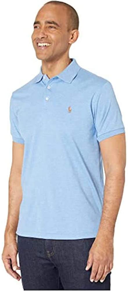 Polo Ralph Lauren Mens Custom Fit Short Sleeves Polo Shirt (Light Blue/Multi Pony, Large)