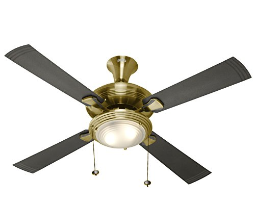 Usha Fontana One 1270mm aCeiling Fan with Decorative Lights (Antique Brass), Black