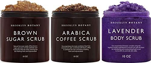 Brooklyn Botany Brown Sugar Body Scrub, Coffee Scrub and Lavender Body Scrub – Exfoliating Body Scrub – Anti Cellulite Scrub Helps Fight Stretch Marks, Cellulite, Veins, and Eczema –Gift for Women
