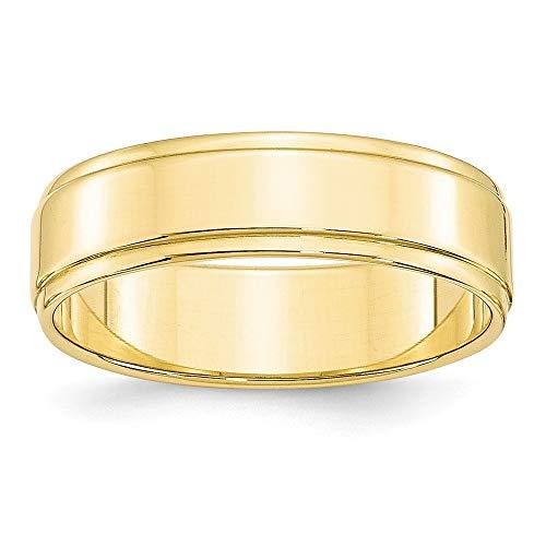 10ky 6 mm, flach, mit Trittstufe Edge-Band-Größe R 1/2-JewelryWeb Ring-höherer Feingehalt als Gold 9 Karat