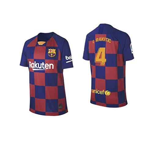 S&K Sports Ivan rakitic Barcelona Rot/Blau,Maillot Ivan rakitic Trikot 2019/20 für Herren & Jungen(Rot/Blau,S)