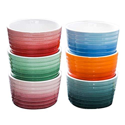 CHUTD Ramekin de Porcelana de 8 oz, Juego de 6, tazones de pudín Aptos para Horno y microondas, Taza para Platos, Tazas para soufflé, Platos, Crema brulée, Tazas para natillas, postres, para Horne