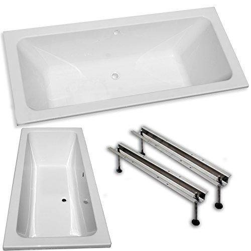 """Acryl- Rechteck Badewanne""""Koralle T 200"""" 180 x 80 cm mit Mittelablauf (mit Fußgestell ohne Ablauf)"""