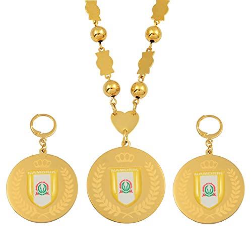 QDGERWGY Conjuntos de Joyas Colgante Pendientes Grandes Cuentas de Bolas Redondas Collares de Cadena Joyería Regalos