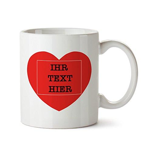 Partycards Personalisierte Tassen als Geschenkidee mit verschiedenen Motiven - Kaffebecher (Herz + Wunschname, 300ml)