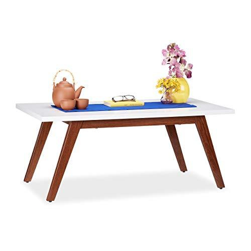 Relaxdays Couchtisch, Metallfüße in Holzoptik, massiv, modernes Design, Sofatisch MDF, HBT 45 x 110 x 60 cm, weiß/braun