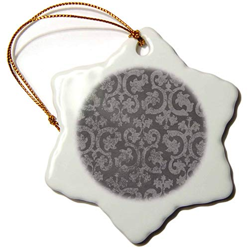 3dRose ORN 151435_ 1Grunge Dark Gray Damask-Silver grau Faded Antik Vintage wirbelt Wallpaper-Snowflake Ornament, 3Zoll, Porzellan