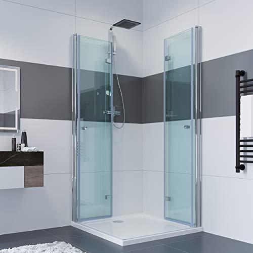 IMPTS 90 x 90 x 185 cm Duschkabine Eckeinstieg Doppel Falttüren 180º Eckig Dusche Duschwand Duschabtrennung