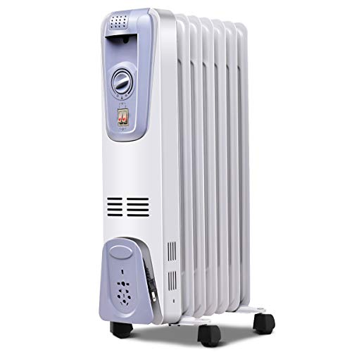 Tangkula Oil Filled Radiator Heater, 1500W Portable Space Heater Radiator with Adjustable Thermostat, 3 Heat Settings, Overheat & Tip-Over Protection, Electric Radiant Heater for Indoor use