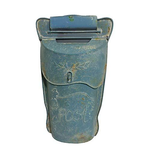 Handgefertigter Briefkasten aus Eisen mit rundem Blumendesign und Passepartout, Shabby Chic, Blau
