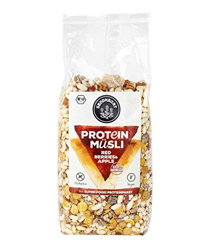 PROTEIN MÜSLI Red Berries & Apple 300g (1 Packung) | Proteinreiches Bio-Müsli mit gekeimtem Buchweizen, ohne Zuckerzusatz | Die glutenfreie, vegane, sportliche Frühstücks-Alternative! ??