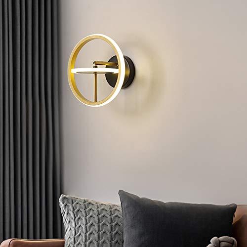QEGY Ring LED Aplique de Pared Dorado, Lámpara de Pared Dormitorio Ajustable, Luz de Pared con 2 llamas y Acrílico Pantalla, Bañadores de pared Sala de Estar Pasillos, 1100 Lumen,B/warm light