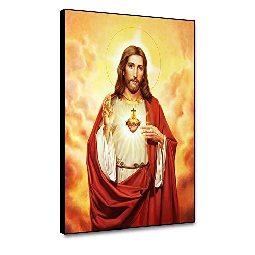 Musemailer Lienzo enmarcado para pared, 40,6 x 50,8 cm, pintura de Dios Jesucristo, retrato abstracto, nubes, luz santa, lienzo impreso para decoración de pared, sala de estar, comedor, estudio