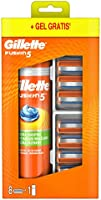 Gillette Fusion5 Ostrza wymienne do maszynki do golenia, 8 sztuk, z 5 ostrzami zmniejszającymi tarcie + 200ml Żel