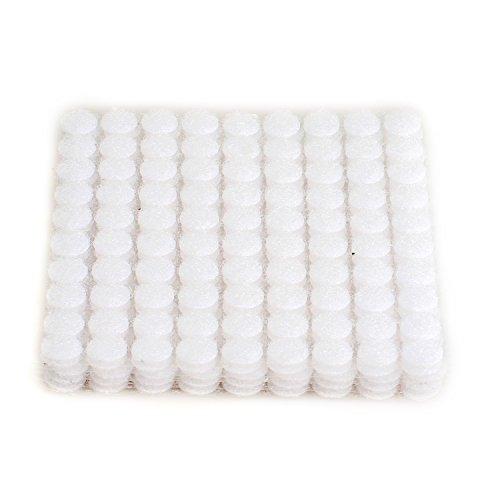 HIMRY 900 Stück Klett - Klebe - Punkte, 450 Paar, 10 mm, 1 cm, Stark und Robust, Self Adhesive Klett Punkte, Haken und Schlaufe Aufkleben, Weiß, KXB5025 White