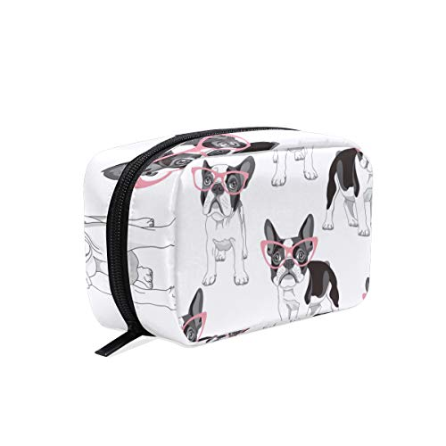 ZZAEO French Bulldog Pink Glasses Makeup Bag Cute Printing Mini Cosmetic Case Organizer Travel Accessories Toiletry Beauty Pouch for Women Teens Girls