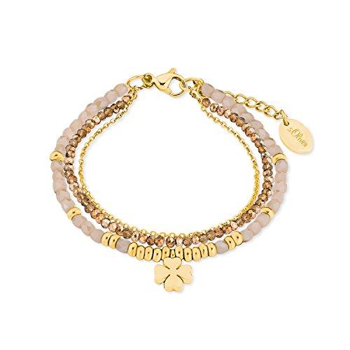 s.Oliver Damen-Armband mit Kleeblatt-Anhänger Edelstahl IP Gold Beschichtung Glassteine creme