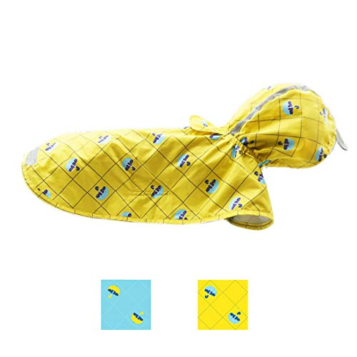 kyeese Dog Rain Poncho Waterproof Reflective Dog Raincoat with Hood for Medium Dogs Lightweight Packable with Zip Pocket Rainwear for Dogs