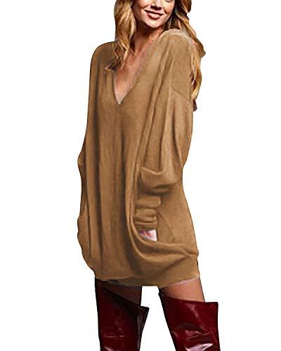 ZANZEA Mujer Jersey de Punto Largos Cuello V Manga Larga Otoño Vestidos Sudadera Casual Tallas Grandes Suéter Suelta 01-Marrón M