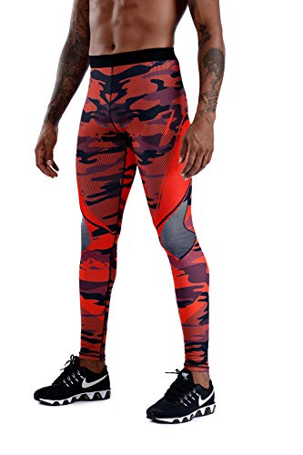 Men's Compression Dry Cool Sports Tights Pants Baselayer Running Leggings Yoga Sports Tights Pants (RED, L)