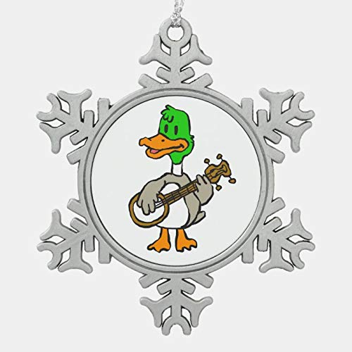 Christmas Ornament, Funny duck playing banjo choose background color snowflake pewter christmas ornament, Xmas Tree Hanging Decorations, Home Decor, Keepsake Gift, 3 Inch Snowflake Ornament