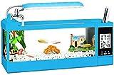 N\A AY Acuario - Mini Tanque de Pescado de Vidrio de Escritorio, lámpara de Mesa pequeña, Calendario perpetuo multifunción, Caja de Almacenamiento, Grifo (Color : S)