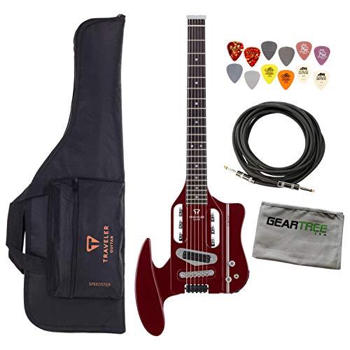 Traveler Guitar Speedster Hot Rod V2 Wine Red Travel Guitar w/Cable, Picks, and