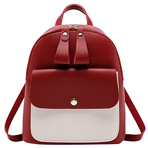 LKHJ Backpack Einfache Leder Rucksack Schultasche Patchwork Farbe Kleiner Rucksack Für Schüler...