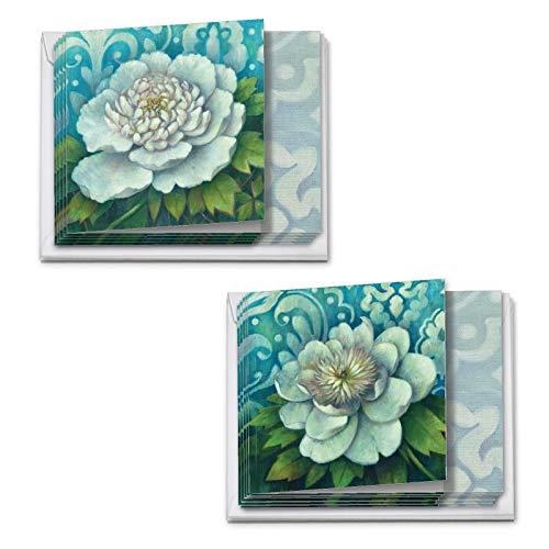 The Best Card Company - 12 Beautiful Blank Note Cards Bulk (4 x 5.12 Inch) (2 Designs, 6 Each) - Blue Magnolia MQ4594OCB-B6x2