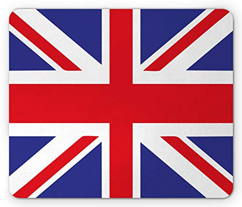 Ambesonne Union Jack Mouse Pad, Classic Traditional Flag United Kingdom Modern British Loyalty, Rectangle Non-Slip Rubber Mousepad, Standard Size, Blue Red