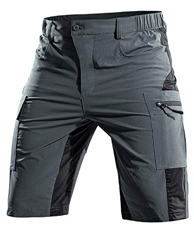 Cycorld MTB Hose Herren Kurz, Atmungsaktiv Mountainbike Hose Herren MTB Shorts Schnelltrocknende Fahrradhose Mountainbike Shorts Bike Shorts Radlerhose (Grau, L)