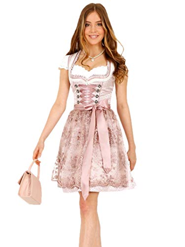 Krüger Dirndl Nalia 46685 50er Länge Rose rosa Perlen-Schürze (Nalia 50er Länge Rose, 38)