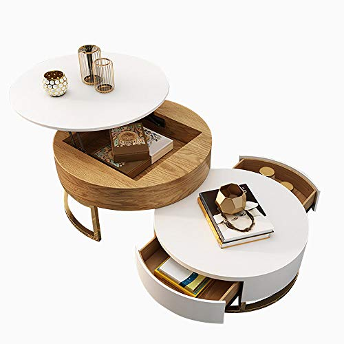 Homary Round Coffee Table White with Storage Lift-Top Wood Coffee Table Lifts up with Rotatable Drawers (White_Natural)