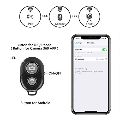 Phone Tripod EVERESTA 42 Inch 360 flexible Smartphone Tripod,Also Use as Camera Tripod, DSLR Tripod, Video Tripod with Phone Holder Mount Bluetooth Remote Shutter – Black
