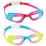 aegend Kinder Schwimmbrille 2 Stück Schwimmbrille für Kinder Jungen & Mädchen Alter 3-9 Jahre Silikon Nasensteg Clear Vision Leicht Verstellbarer Gurt UV-Schutz Anti-Fog Kein Auslaufen
